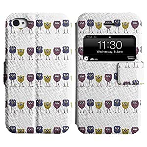 Be-Star Diseño Impreso Colorido Slim Casa Carcasa Funda Case PU Cuero - Stand Function para Apple iPhone 4 / 4S ( Skinny Owl )