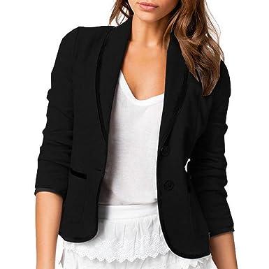 d2f2c57dd012 Skyblue-uk Stylish Jacket Womens Ladies Long Sleeve Lapel Two Button Short  Casual Office Blazer