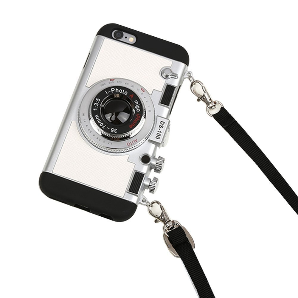 iPhone 6s Case Cute, iPhone 6 Cases for Teen Girls, 3D Camera Unique Design Case PC + Silicone Shockproof Hybrid Cover Case with Neck Lanyard (Silver)