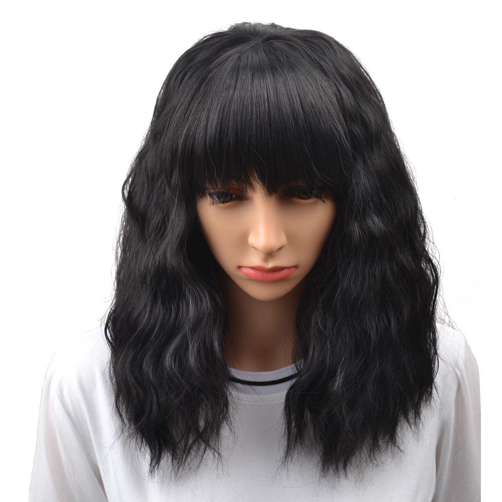 BERON 14'' Women's Short Curly Bobo Wig with Free Wig Cap (Black)