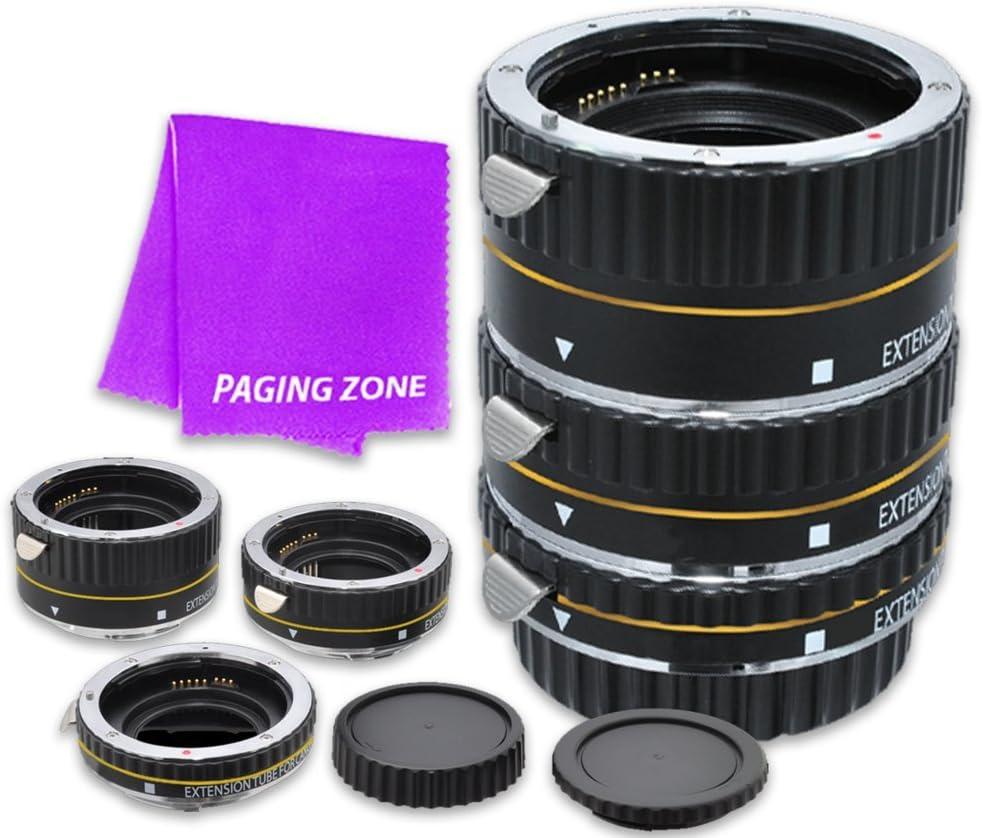 Macro Auto Focus Extension Tube Set 13-21-31mm DG for Canon EOS Rebel Digital Cameras XSi, T1i, T2i, T3, T3i, T4i, T5, SL1, T5i, T6, T6i, T6s, 7D Mark II, 70D, 80D, 6D, 5D Mark III, 5Ds, 5DS-R (Black)