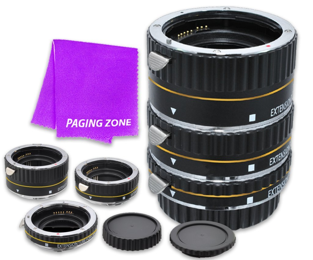 Macro Auto Focus Extension Tube Set 12-20-36mm for Nikon Mount D5, D4s, D4, D3100, D3200, D3300, D3400, D5100, D5200, D5300, D5500, D7000, D7100, D7200, D700, D750, D810, D610 DSLR Cameras (Black) by Paging Zone