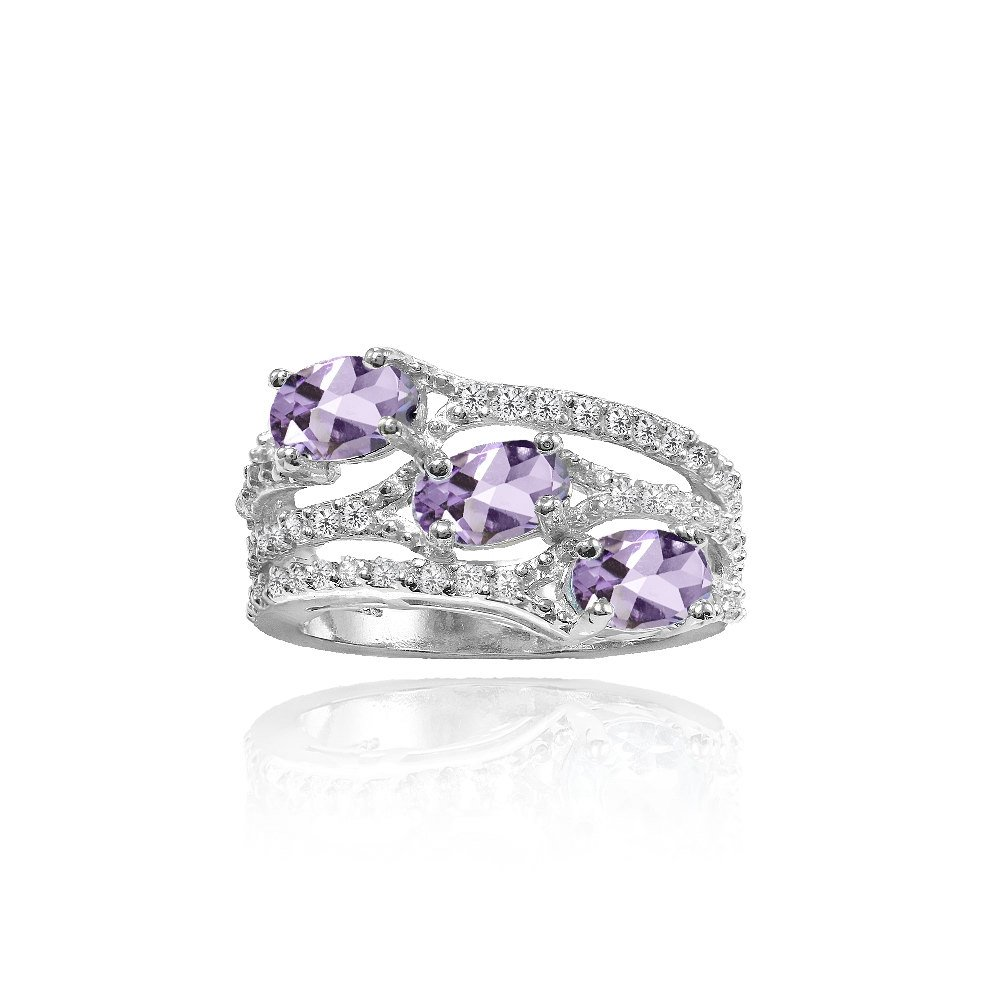 Sterling Silver Amethyst and White Topaz Oval Three Stone Ring, Size 8