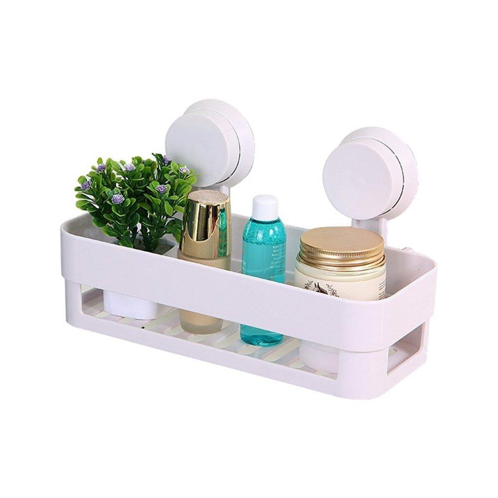 Gearmax Plastic Corner Shelf Rack Bathroom Kitchen Storage Shower Caddy Organiser with Waterproof Suction Cup (White)