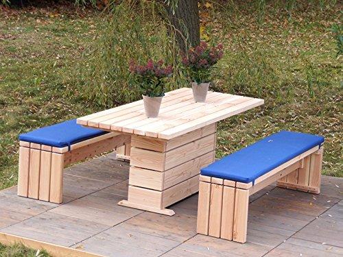 Gartenmöbel Set 2 Holz, Oberfläche: Natur, inkl. Polster - Lieferung komplett montiert