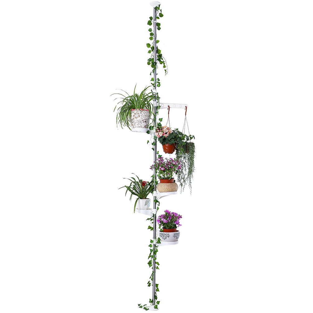 Baoyouni 5-Tier Tension Rod Plant Holder Pole, Flower Display Stand Rack Stainless Steel Decorative Shelf, Ivory by BAOYOUNI