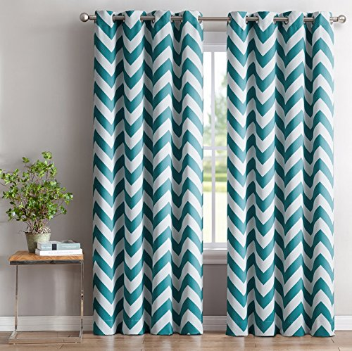 HLC.ME Chevron Print Thermal Insulated Blackout Window Curtain Panels, Pair, Chrome Grommet Top, Teal Blue - Teal Window Panel