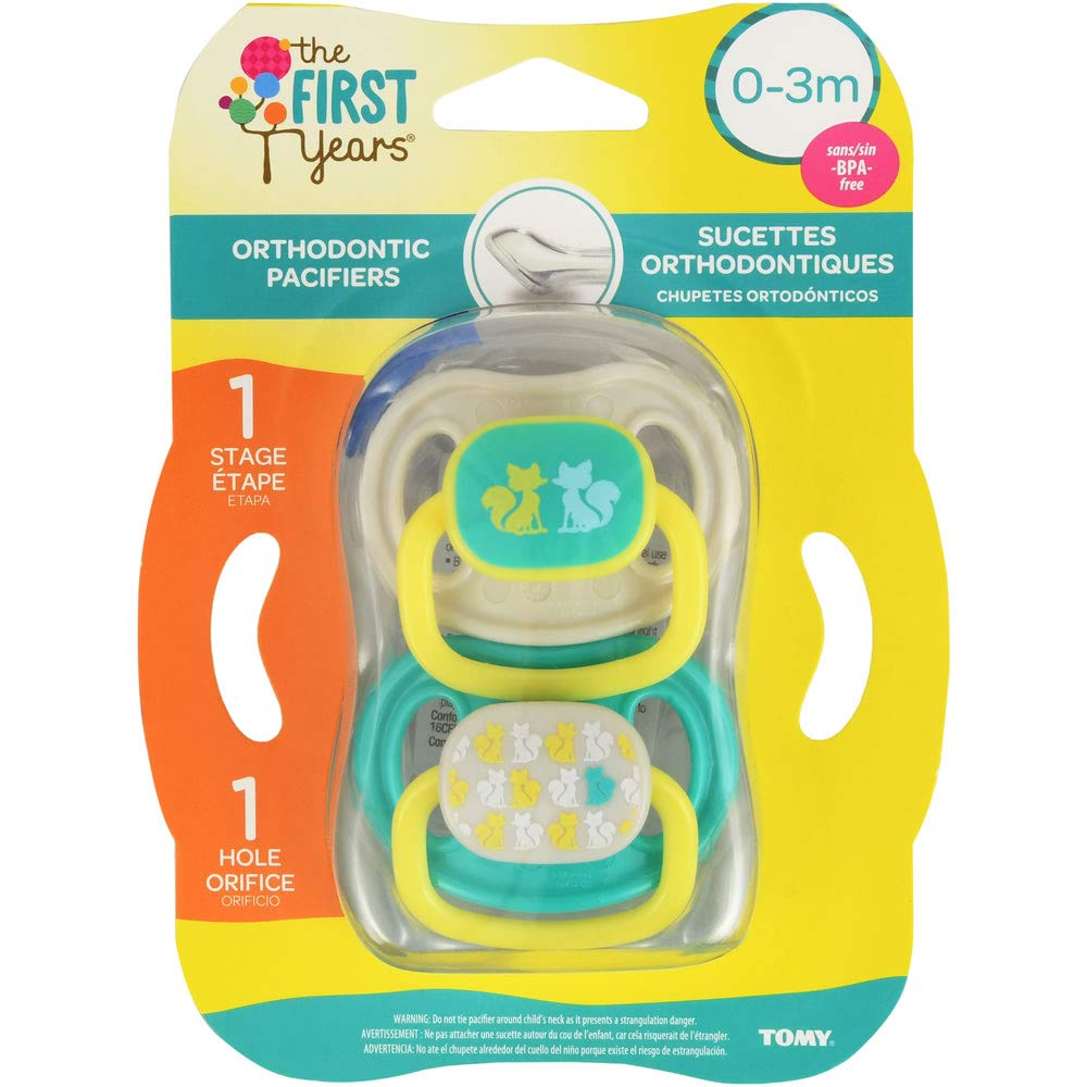 The First Years Orthodontic Pacifier Stage 1, Fox Design - 2 Count
