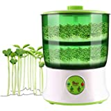 110V Bean Sprouts Machine Automatic Intelligence Electronical Seed Sprouts Maker Food Grad PP Material 2 Layers Large Capacity Power-off Memory Function Sprouter