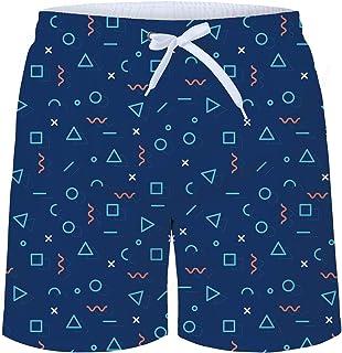 HOTZX Mens Sporty Slim Fit Elastic Swim Short-Canadian American Flag Pattern Style Beach Shorts