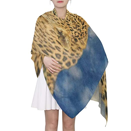3bf7646577f Image Unavailable. Image not available for. Color  Scarf Blue Sky African Leopard  Animal Womens Shawl Wrap Thin Chiffon Scarves Neckerchief