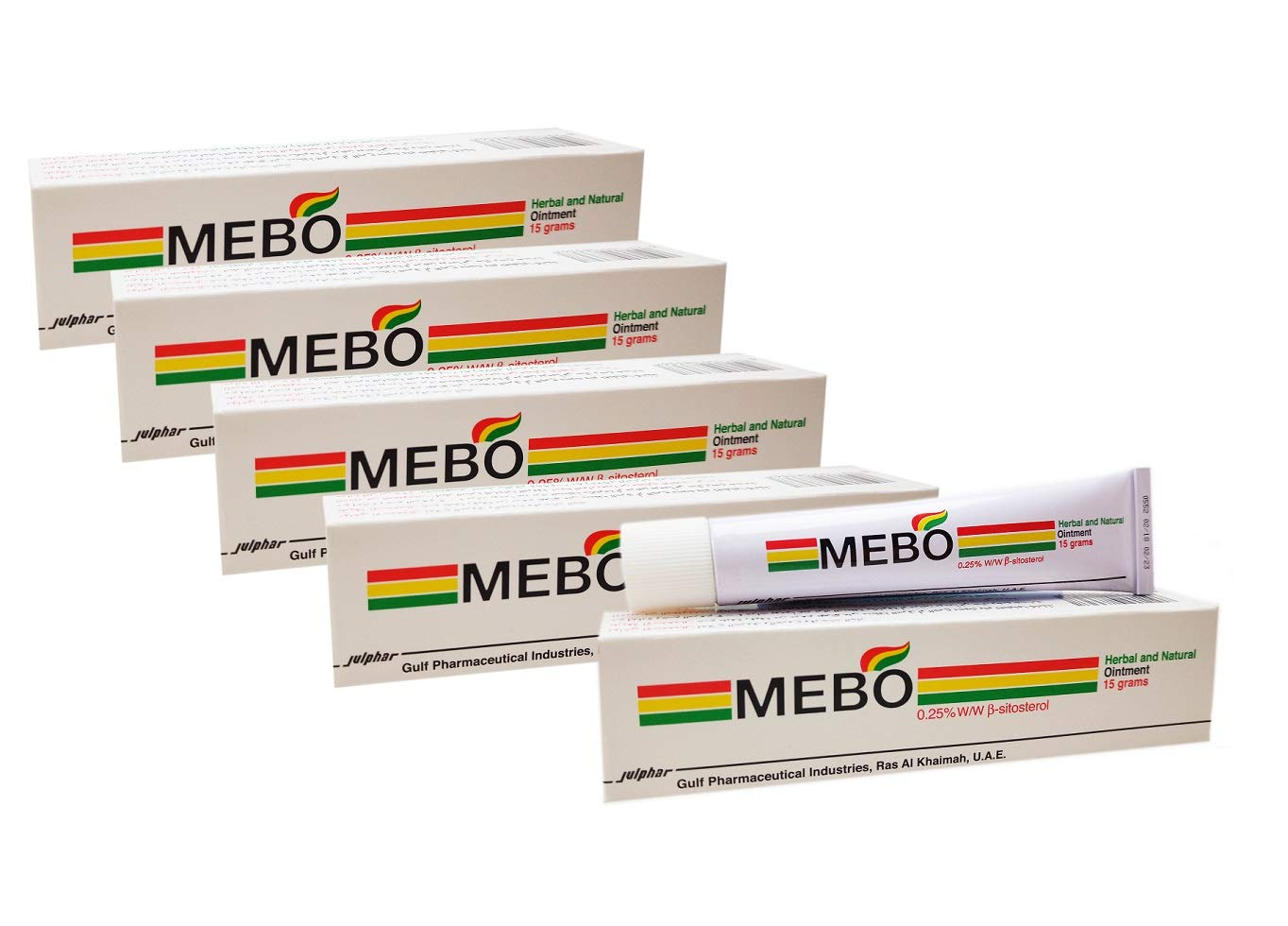 MEBO Burn Fast Relief Pain Cream Skin Healing Ointment Wound & Scar No Marks Care Fast First Aid Health Beauty Care (5 Tubes = 75 grams) by MEBO