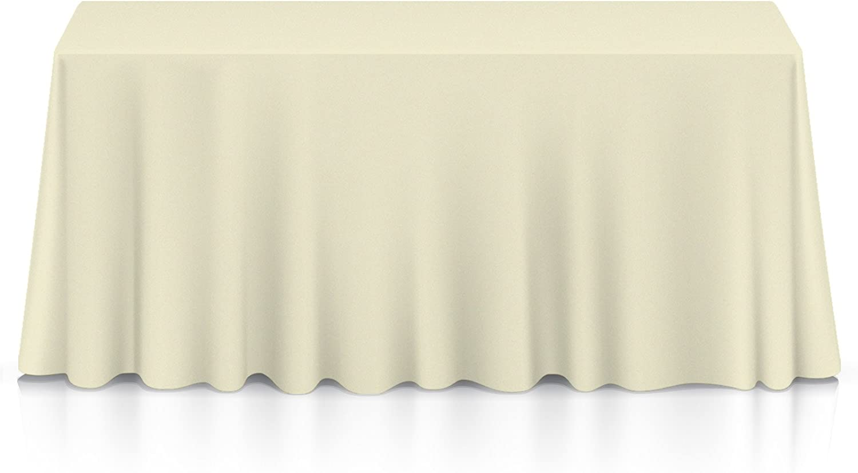 "Lann's Linens - 90"" x 156"" Premium Tablecloth for Wedding/Banquet/Restaurant - Rectangular Polyester Fabric Table Cloth - Ivory"