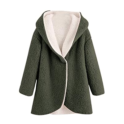 LINYIOU77 Womens Winter Fleece Fuzzy Faux Shearling Outwear Plus Size Long Sleeve Solid Thicken Warm Coat Jacket: Clothing