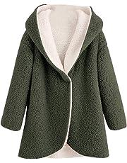 Ausexyy Women's Overcoat Girls Winter Warm Artificial Wool Open Front Cardigan Coat Jacket Hooded Outerwear