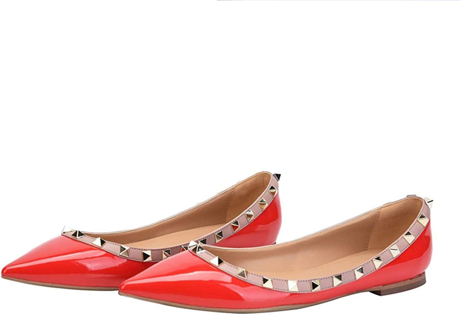 Btimoo Cute Women Shoes Rivets Flats Pointed Toe Ladies Shoes Slip On Flat Heels Casual Shoes Summer Women Shoes US Size 5-15