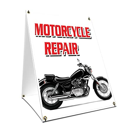 A-Frame Sidewalk Motorcycle Repair Sign with Graphics On Each Side ...