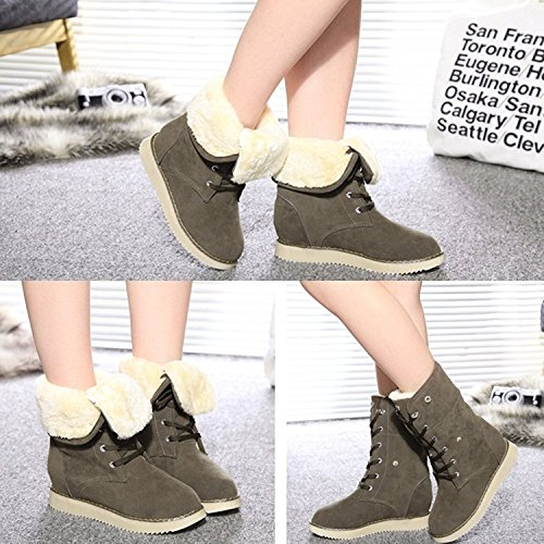 Minetom Mujer Invierno Calentar Botas De Nieve Casual Zapatos De Cordones Tacón Plano Lana Forrado Martin Botas Caqui Oscuro