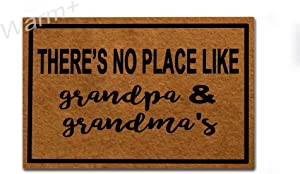 Warm+ Doormat There's No Place Like Grandma and Grandpa's Door Mat with Rubber Backing Home Decor Indoor Mats for Entry Front Floor Mats 23.6 x 15.7 Inches