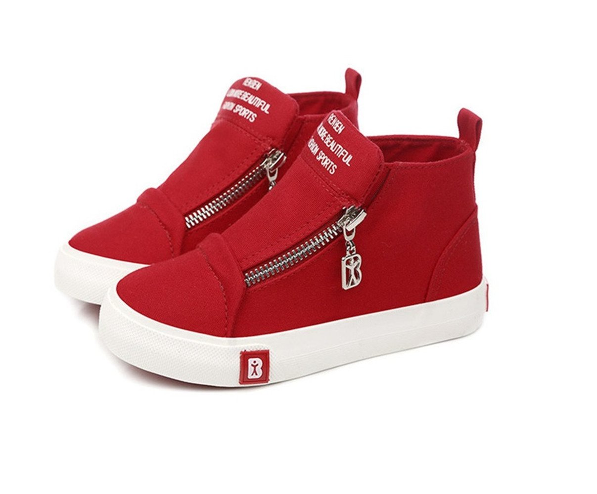 BENHERO Classic Kids Casual Comfort Zipper Lace Up High-Top Canvas Sneaker Shoes Trainers (Toddler/Little Kid/Big Kid) (4.5 M US Big Kid, 5129 Red)