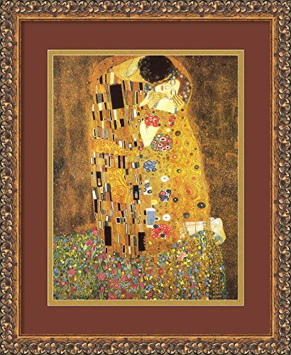 Framed Art Print, 'The Kiss (Le Baiser / Il Baccio), 1907' by Gustav Klimt: Outer Size 14 x 17