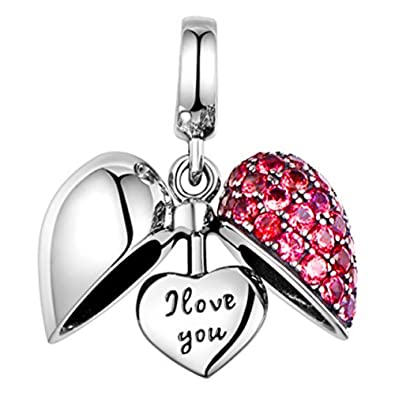 a2a47af12 I Love You - Red Crystal Heart S925 Sterling Silver fits Pandora Women's  Charm Bracelet Bead