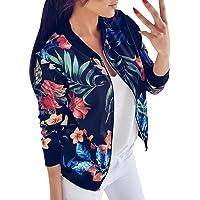 SHOBDW Liquidación Venta Mujer Sudadera Suelta Ladies impresión Flor Cremallera Chaqueta Outwear Floja otoño Invierno…