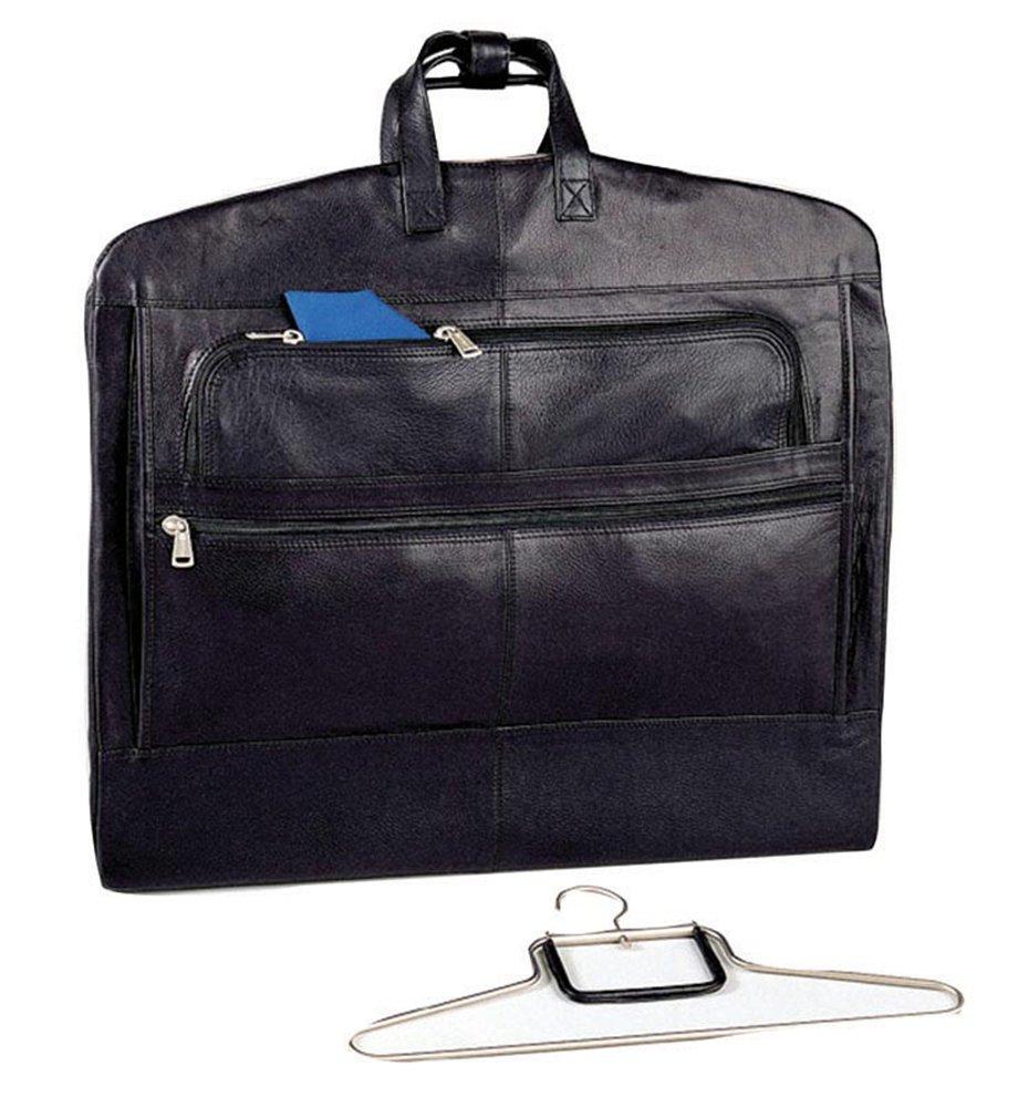 Winn International Cowhide Napa Supple Leather Garment Bag in Black