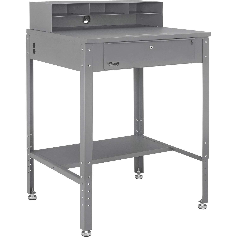 Flat Top Shop Desk w Pigeonhole Compartments, 34-1/2''W x 30''D, Gray