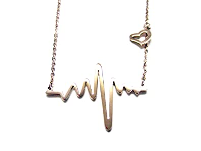 3868b8705 Image Unavailable. Image not available for. Color: Rose Gold Plated Heart  Rhythm EKG Pendant Necklace