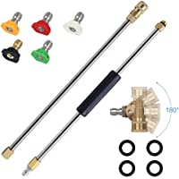 AgiiMan Pressure Washer Extension Spray Wand - 4000 psi 5 Tips 180 Degree Pivoting Coupler, Window Cleaner Accessories, Power Washer Nozzle