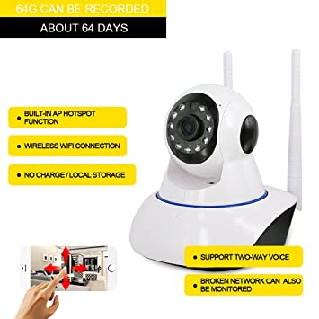 P2P Wifi Cámara IP, cámaras de vigilancia Visión nocturna por infrarrojos, detección de movimiento