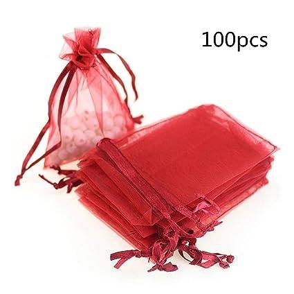 100 Piezas Organza Bolsas de Regalo 7x9 cm Sheer Drawstring Boda Partido Favor Bolsas Caramelo Joyería Bolsa por SamGreatWorld