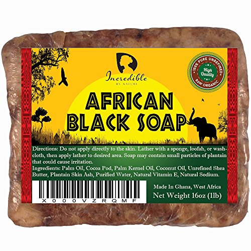#1 Best Quality African Black Soap - Bulk 1lb Raw Organic Soap for Acne, Dry Skin, Rashes, Burns, Scar Removal, Face & Body Wash, Authentic Beauty Bar From Ghana West Africa - Incredible By Nature (Dudu Osun Black Soap Before And After)