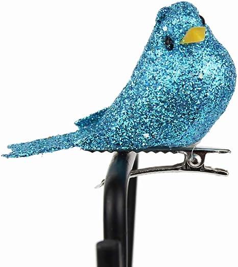 Azul Amosfun 12 Unids Espuma Artificial P/ájaros Figuras de Aves Miniatura Espuma P/ájaro Pinza de Pelo para Craft Fairy Garden Adornos Accesorios para el Cabello