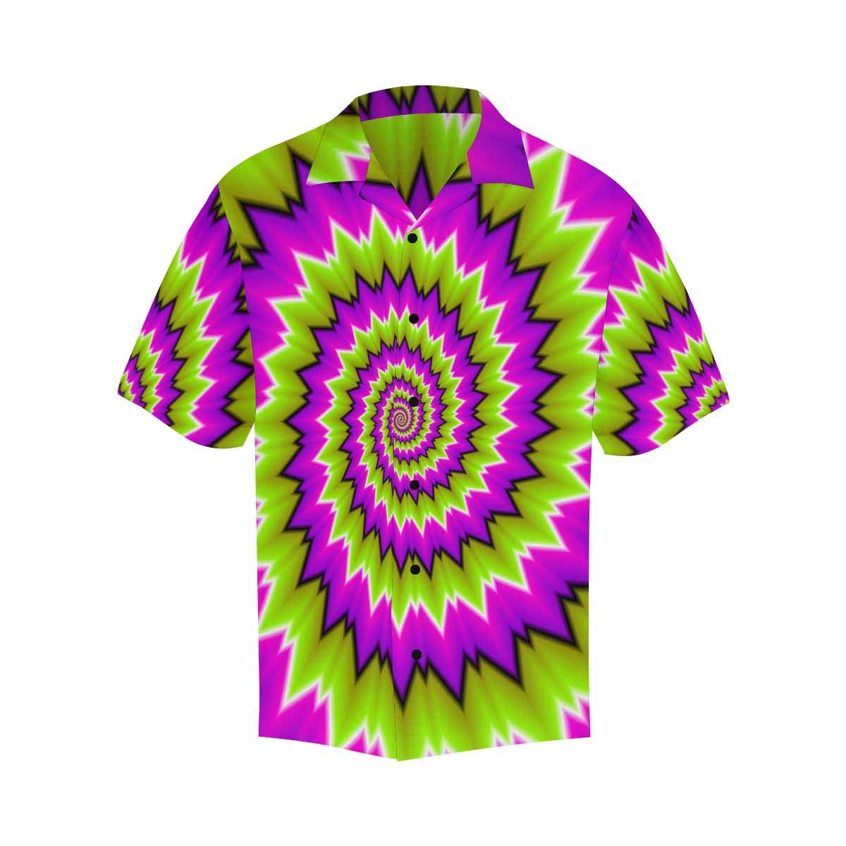 InterestPrint Shirt Short Sleeve Button Up Green Pink Spirals Shirt V-Neck Beach Top for Men