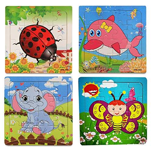 (OMGOD Kids Puzzles Toys 4 Pack, 16pcs Wooden Animals Elephant Bee Dolphins Ladybugs Fancy Education and Learning Intelligence Toys Jigsaw Puzzles Present (16 pieces puzzles))