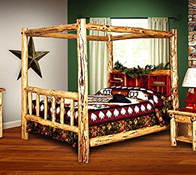 Rustic Red Cedar Log Bed- FULL SIZE - Canopy Bed - Amish Made in USA