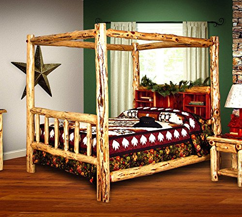 Rustic Red Cedar Log Bed- QUEEN SIZE - Canopy Bed - Amish Made in (Canopy Log Bed)