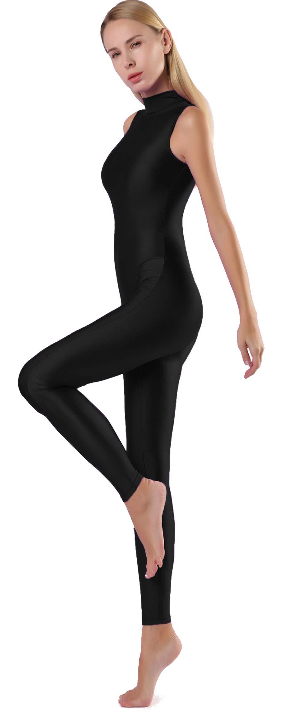 Speerise Bodycon Jumpsuits Rompers Turtle Neck Sleeveless Zip Yoga Unitard Black L