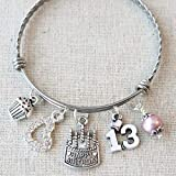 13th BIRTHDAY GIRL Bracelet, Happy 13th Birthday Charm Bracelet, Teenage Daughter Gift Ideas, Birthday Gifts for Girls, 13 Year Old Girl Birthday