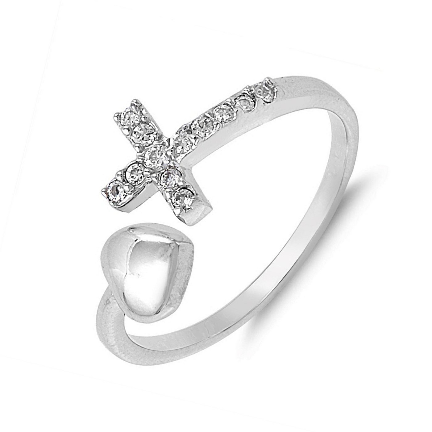 Heart Cross Wraparound Cubic Zirconia Womens 925 Sterling Silver Promise Ring Size 9