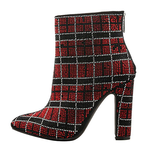 Cape Robbin Womens Pointy Teen Jeweled Rhinestone Stripes Chunky Heel Enkellaarsje Boots Rood