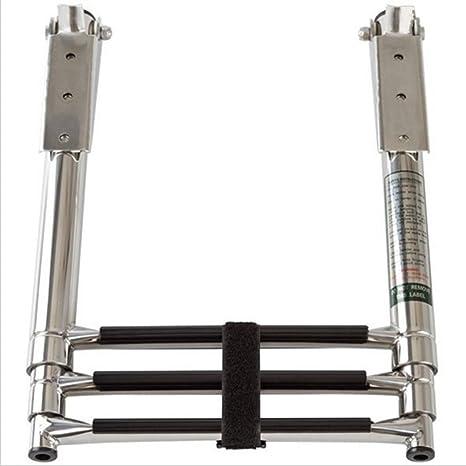 xingbailong Escalera telescópica plegable de acero inoxidable, 3 peldaños: Amazon.es: Deportes y aire libre