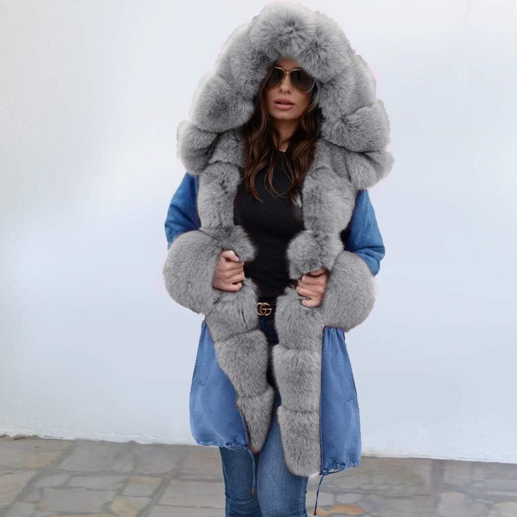 DBLQM Manteau d'hiver Femme Manteau à Capuchon A2