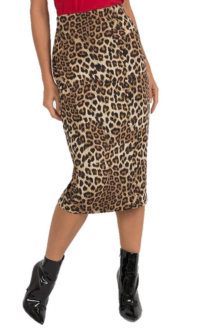 Joseph Ribkoff Brown & Multicolor Leopard Print Pencil Skirt Style  193553 Fall 2019