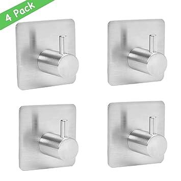 Wemk 4 piezas Gancho adhesiva, 8 kg Max – Gancho de pared para cuarto de