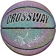 Ourleeme Holographic Glowing Reflective Basketball Luminous Ball Glow Balls for Night