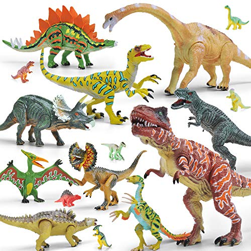 Gizmovine 20 Piece Dinosaur Toys for 3 Year Olds & Up, 5 to 9 Movable Dinosaurs Toy for Kids Educational Realistic Dinosaur Figures Including T-Rex, Triceratops, Velociraptor