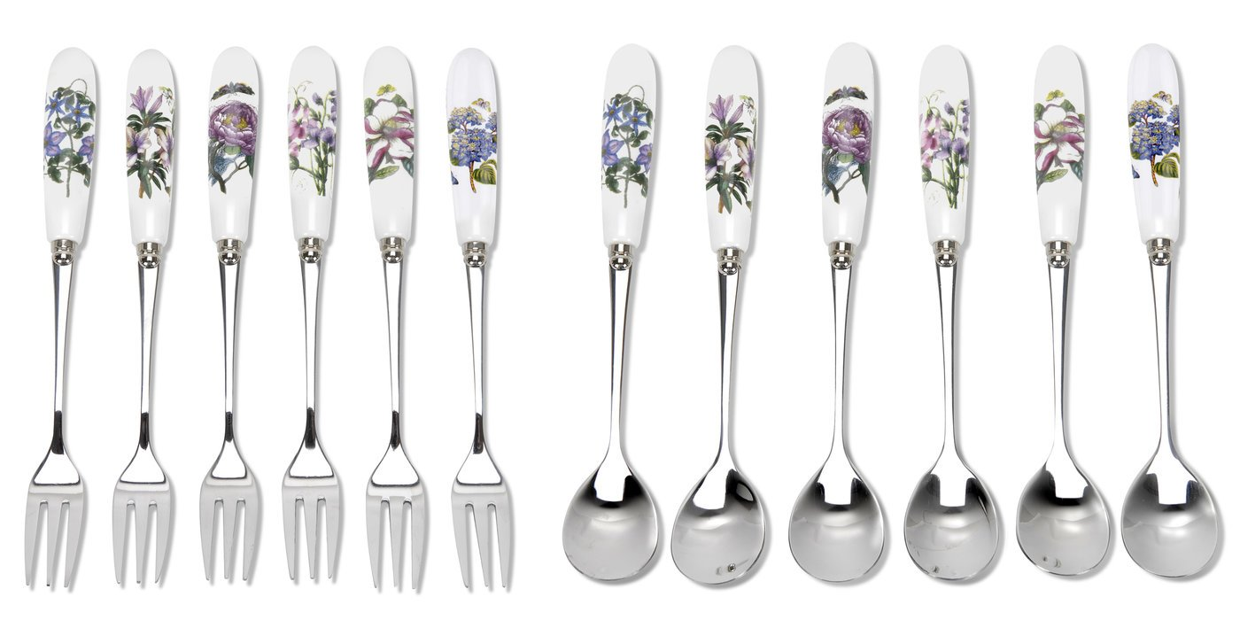 Botanic Garden 12-Piece Pastry Forks and Tea Spoon, Porcelain, Multi-Colour, 1 x 1 x 15 cm Portmeirion BG1103 149729